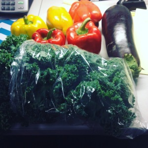 Healthy scores at work! Love that they brought the farm to us so we could skip a trip to the grocery store!